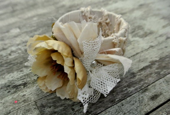 Fabric bracelet, flower corsage, country chic bangle, famr girl bangle, floral cuff, boho, gypsy cowgirl jewelry