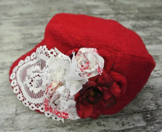 Red fall hat, shabby chic cadet hat, country chic, bohemian gypsy, cowgirl glam, true rebel clothing accessories, cottage