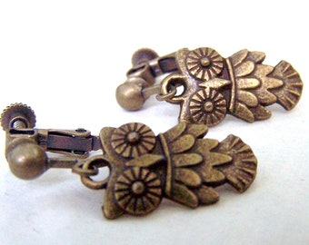 Girls Owl Earrings  Brass Owl Earrings Clip on Earrings Girls Jewelry Girls Earrings