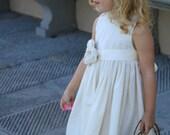 Flower girl dress, country flower girl dress, beach flower girl dress, cotton flower girl dress