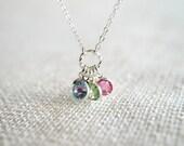 Birthstone Necklace in Silver - Up to 5 Swarovski Crystal Birthstones - Personalized, Mom, Kids, Children, Family, Grandchildren, Grandkids