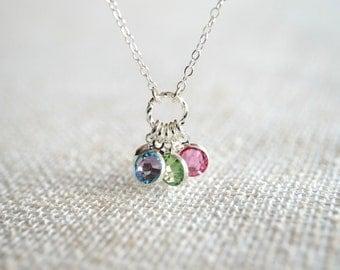 Birthstone Necklace in Silver - Up to 10 Swarovski Crystal Birthstones - Personalized, Mom, Kids, Children, Family, Grandchildren, Grandkids