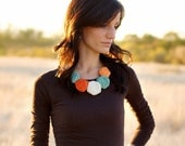 Fabric Rosette Necklace on 20in Antique Bronze Chain - Choose your Color