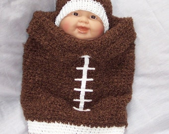 Football Cocoon Crochet Pattern PDF - INSTANT DOWNLOAD.