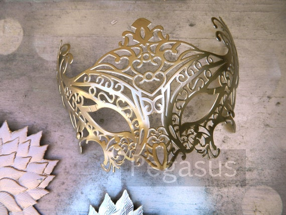Matte Gold Masquerade Mask base (1 Mask) Ballroom masquerade mask for a Mardi Gras, Halloween, Wedding, New year or Costume Party - M1
