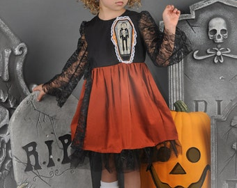 SALE---Hallie's Hauntingly Hypnotic Fabtabulous One-Of-A-KinD Halloween Dress