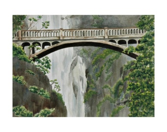 Bridge at Multnomah Falls - Limited Edition Print