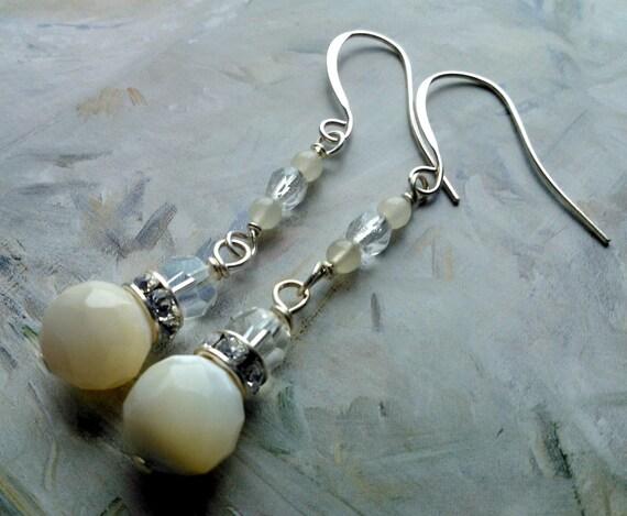 Holiday Earrings - Snow Drops - Mother of Pearl - Crystal - Yellow Jade - Spring, Flowers, Bead, Earrings