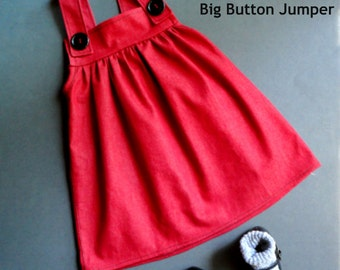 Pattern sewing children,,kids&baby,Pattern sewing girl,handmade,girls pinafore,jumper pattern,Big Button Jumper