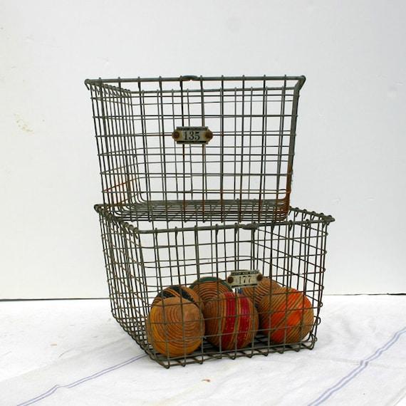 Vintage Locker Basket / Industrial Wire Basket