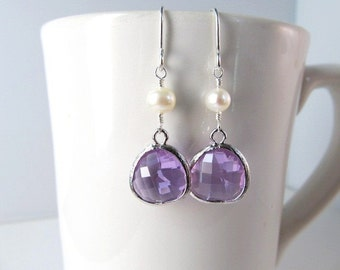 Dangle Earrings, Silver Glass Jewel and Freshwater Pearl, Wedding Jewelry, Your Choice of Color, Bridesmaid Gift