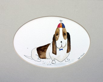 Wesley - dog with hat and tie, whimsical, mini watercolor, basset hound, simple, matted, pen and ink, children's art, nursery art, hound dog