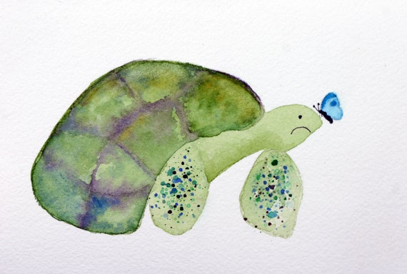 Grumpy turtle with butterfly, watercolor, whimsical, green, simple, minimalistic, beachy, green shell, bathroom art