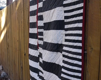 Black and White and Red All Over.  Hand Quilted. OOAK. Ready to Ship.