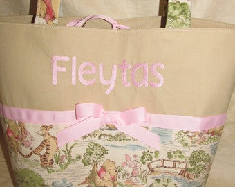 Pooh Bear diaper bag Classic Winnie Pooh fabric diaper bag you can choose ribbon color and name