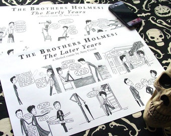 Young Sherlock Comic Prints - The Brothers Holmes - Two 11x17 Posters - Mycroft and Sherlock Holmes