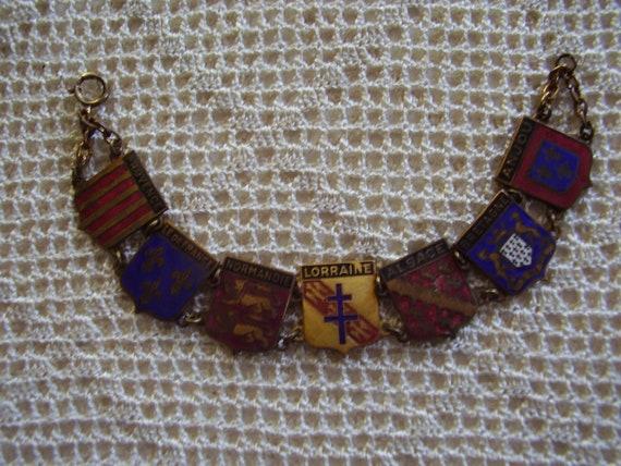 Vintage Bracelet Enamel France WW11 Landmarks