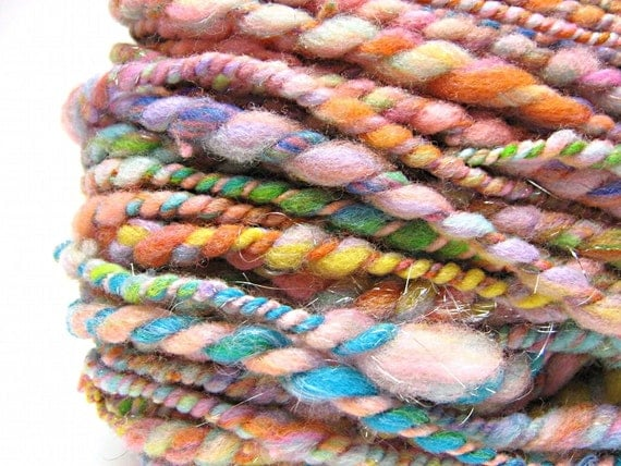 Super bulky pastel rainbow yarn, handspun in merino wool, alpaca and sparkly angelina- 55 yards, 3.0 ounces/ 85 grams