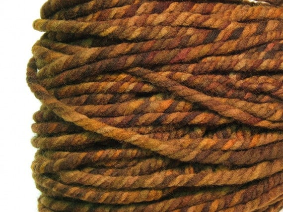 Super bulky three ply yarn in hand painted merino wool - 65 yards, 4.6 ounces/ 131 grams