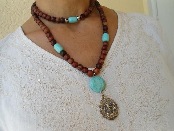Mala Necklace 108 bead Rosewood & Turquoise Howlite Japa Mala Ganesha Amulet Yoga Jewelry Yoga Bracelet Hindu God Jewelry Under 75 dollars