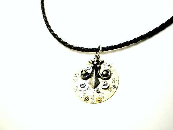 40% OFF - Fleur de Lis Steampunk Necklace - Handmade Pendant - Watch Face Parts, Silver Fleur de Lis Charm  -1 of a Kind - Great Gift