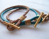 Friendship Bracelet, Pink, Nude, Black, Turqouise, Cognac Leather Wrap Bracelets, Wire Wrap with Gold   3 for 30.00