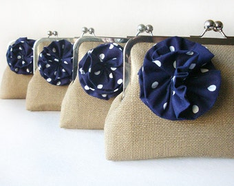 Bridesmaid Gifts - Bridesmaid Purse - Burlap Clutches and Polka Dots Flowers - Nautical Wedding Bag Clutches by Lolis Creations