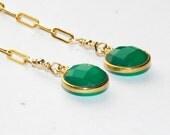 Green Earrings - Long Gold Earrings - Shoulder Duster Earrings