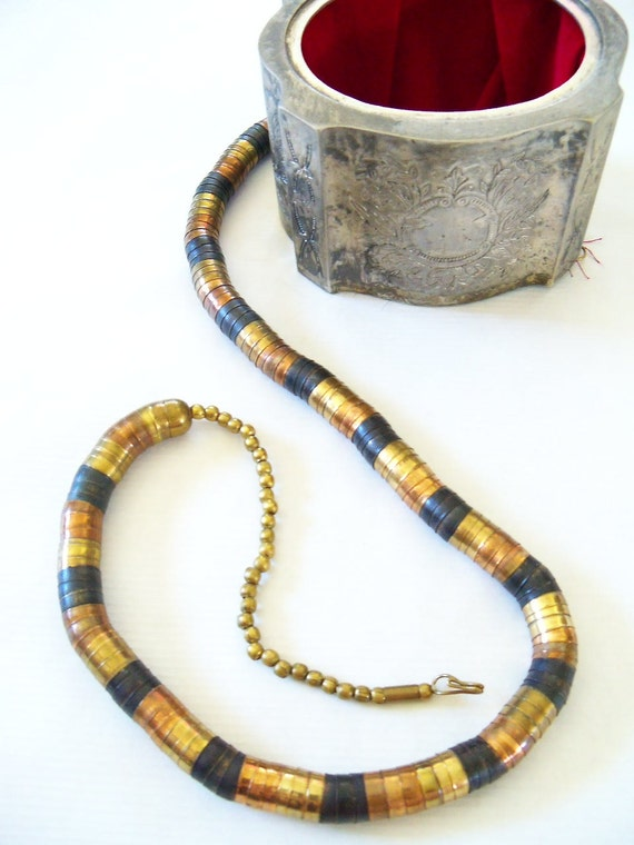 FREE SHIPPING vintage 60s tri-color brass cupped egyptian revival long necklace