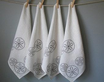 Linen Napkins-Organic  - Set of Four Cloth Napkins -  Screen Print -  Sand Dollar Design - Dinner Napkins