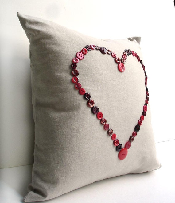 Pillow cover, Valentines day decorative 14 inch pillow, red heart button pillow, envelope back, love heart pillow case cushion cover