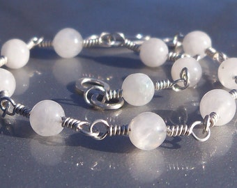9 Inch Rainbow Moonstone Gemstone Argentium Sterling Silver Wire Wrapped Bracelet