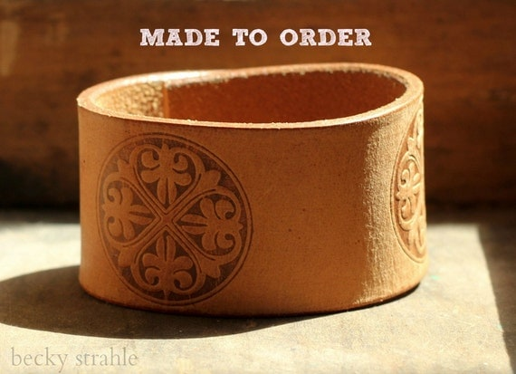 Brown leather cuff with detail...MADE TO ORDER