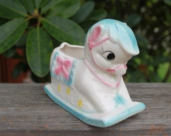Super cute vintage made in japan rocking horse planter