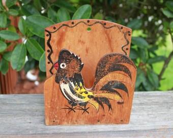 Cute vintage chicken or rooster napkin letter holder