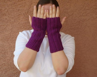 Passion Purple Fingerless Gloves for Women - Jewel Tone, Crochet Fingerless Gloves, Wrist Warmers, Arm Warmers, Fingerless Mittens - Hoooked