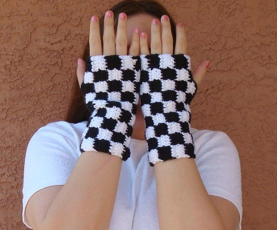 MADE TO ORDERCheckered White and Black Fingerless Gloves for Men or Women, Fingerless Mittens, Arm Warmers, Wrist Warmers, Checkers
