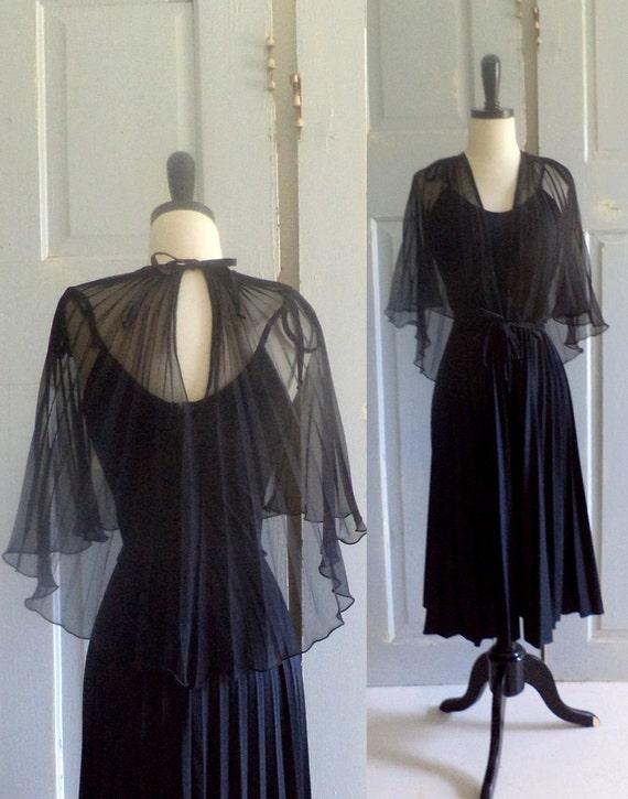 Vintage 1970s Dress 1970s Cocktail Dress Black Party Disco Hippie Avant Garde Size Small