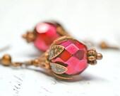 Metallic Red Earrings, Copper Earrings, Bohemian Jewelry, Beaded Earrings, Boho Jewelry, Snake Print Effect Dangles, Red and Copper Drops