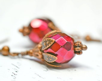 Metallic Red Earrings, Copper Bohemian Jewelry, Beaded Boho Chic Jewelry, Snake Print Dangles, Red and Copper Drops