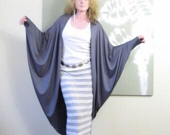 Oversized Cardigan Art Deco Inspired Jacket Long Sleeve Dolman Sweater Duster XLong Bohemian (More Colours) One Size