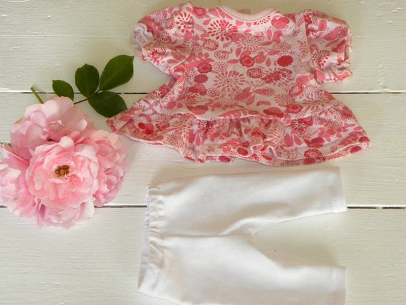 Patterned Pink Dress and White Leggings - 14 - 15 inch doll clothes