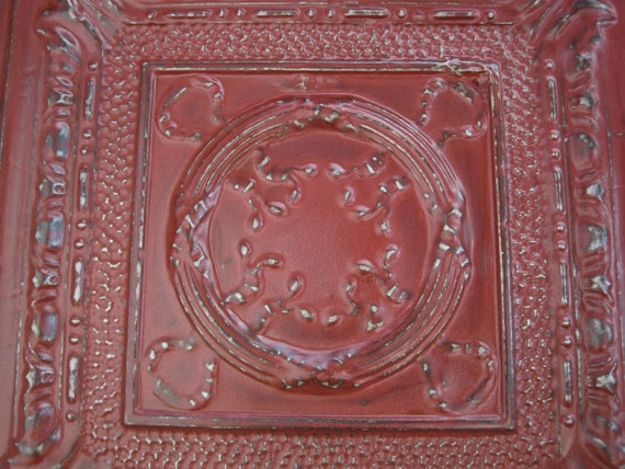 2'x2' Antique Ceiling Tin Tile Circa 1910. RED. Framed & Ready to Hang. Great for magnet board as well.