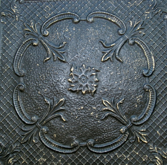 2'x2' Antique Ceiling Tile Circa 1910  FRAMED Ready to Hang. Great for Magnet Board. BLACK.