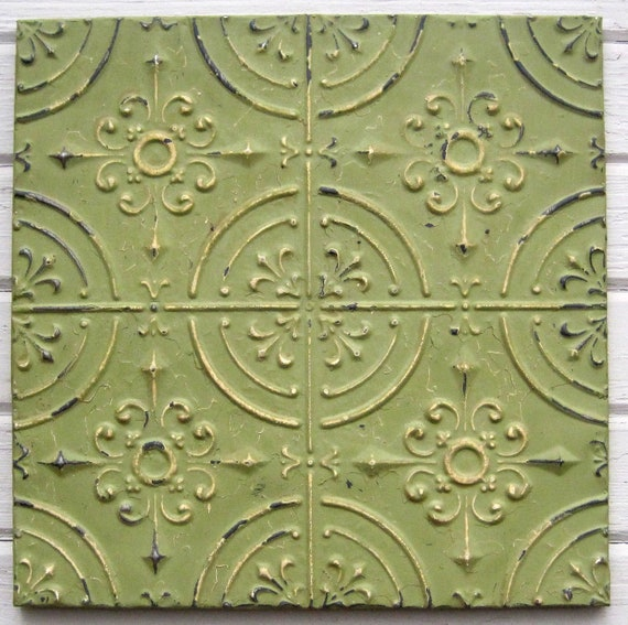 2'x2' Antique Ceiling Tin Tile Circa 1910. Mint Green FRAMED Ready to Hang. Great for magnet board as well.
