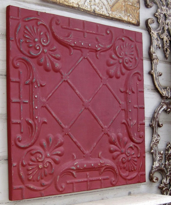 2'x2' Antique Ceiling Tile Circa 1910. RED.  FRAMED Ready to Hang. Great for magnet board or wall decor