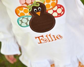 Girls Personalized Dot Turkey Shirt/Onesie-Applique Monogrammed Thanksgiving Turkey Shirt