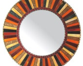 Round Mosaic Mirror - Red, Black, Copper & Orange - opusmosaics
