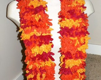 Hand Knit by me  ... Extra Big CHENILLE LOOPY SCARF neck wrap  Orange Yellow Pink ...
