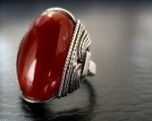 Red Carnelian Ring, Gemstone Statement Jewelry, Antiqued Sterling Silver, Handmade, Gift For Her
